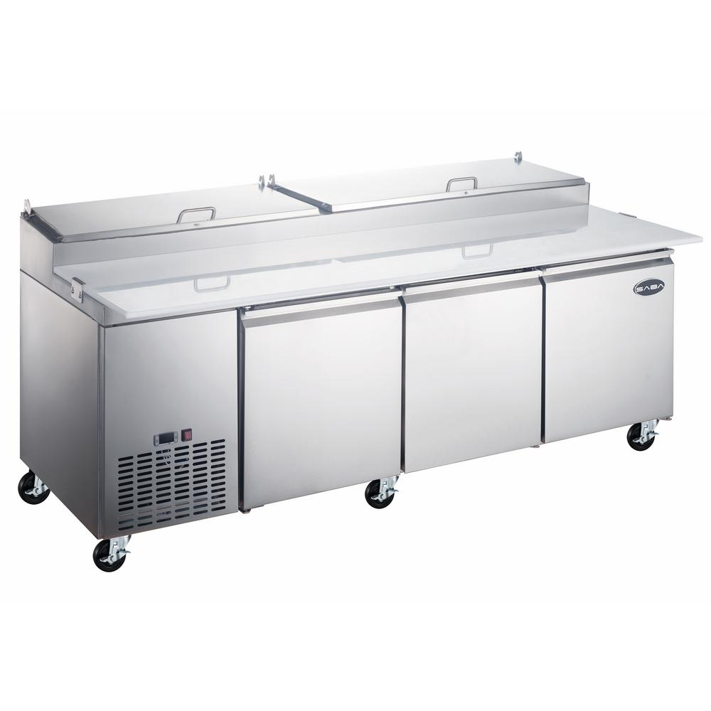 SABA 92 in. W 24.2 cu. ft. Commercial Pizza Food Prep Table Refrigerator Cooler in Stainless Steel