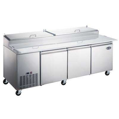 92 in. W 24.2 cu. ft. Commercial Pizza Food Prep Table Refrigerator Cooler in Stainless Steel