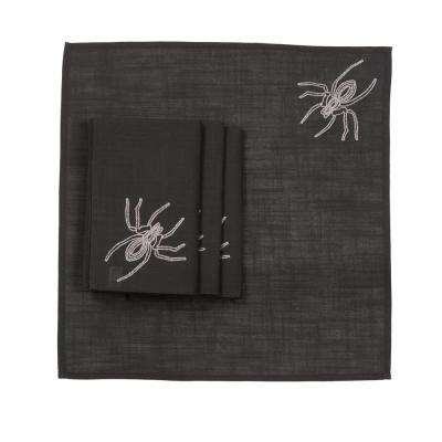 0.1 in. H x 20 in. W x 20 in. D Halloween Spider Web Napkins in Black (Set of 4)