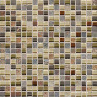 Slate Radiance Cactus 12 in. x 12 in. x 8 mm Glass and Stone Mosaic Blend Wall Tile (1 sq. ft. / piece)