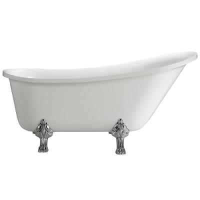 Jacqueline 5.7 ft. Acrylic Clawfoot Non-Whirlpool Bathtub in White