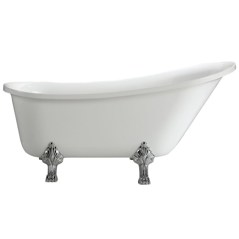 Vinnova Jacqueline 5.7 ft. Acrylic Clawfoot Non-Whirlpool Bathtub in ...