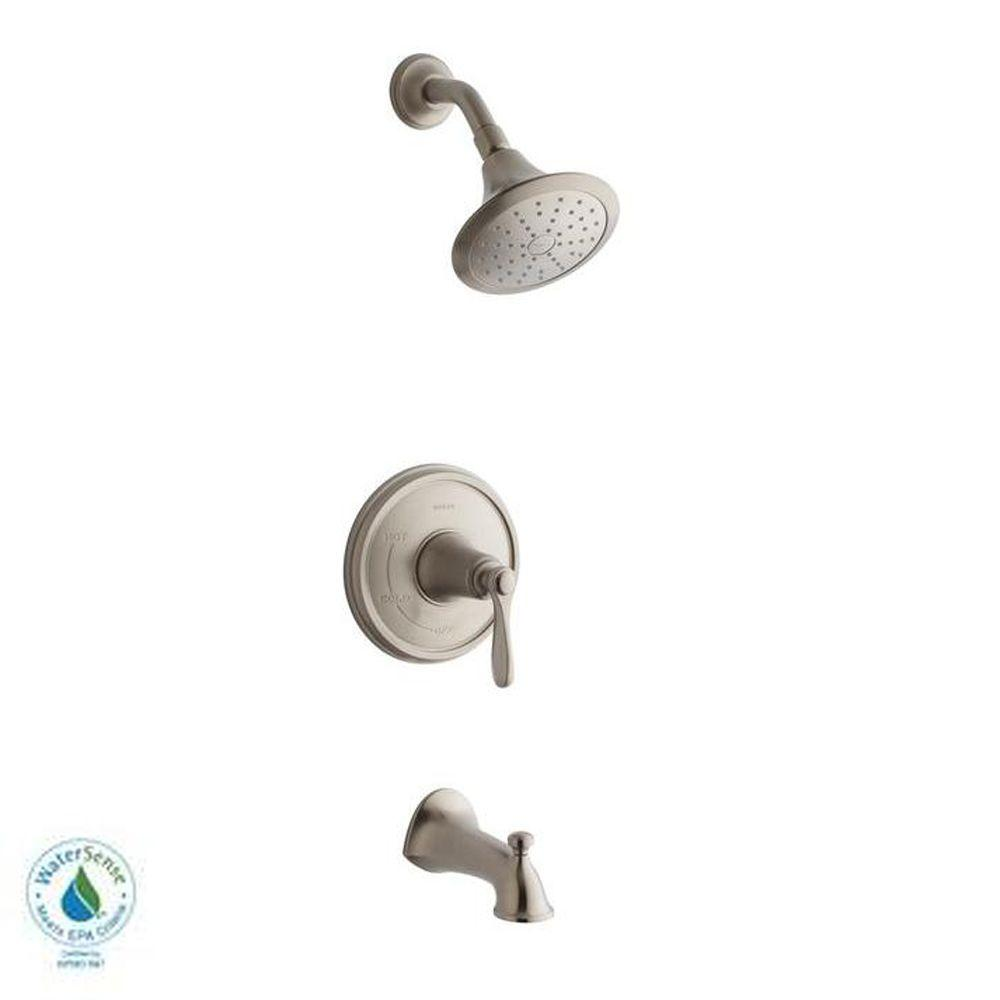 KOHLER Linwood Bath/Shower Faucet in Vibrant Brushed Nickel (Valve ...
