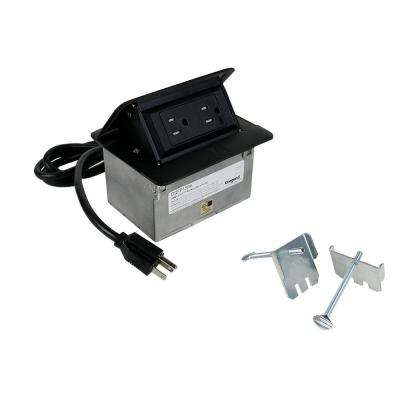 DeQuorum Flip up Black Countertop Box with 15 Amp Tamper Resistant Receptacle with a 6 ft. Cord