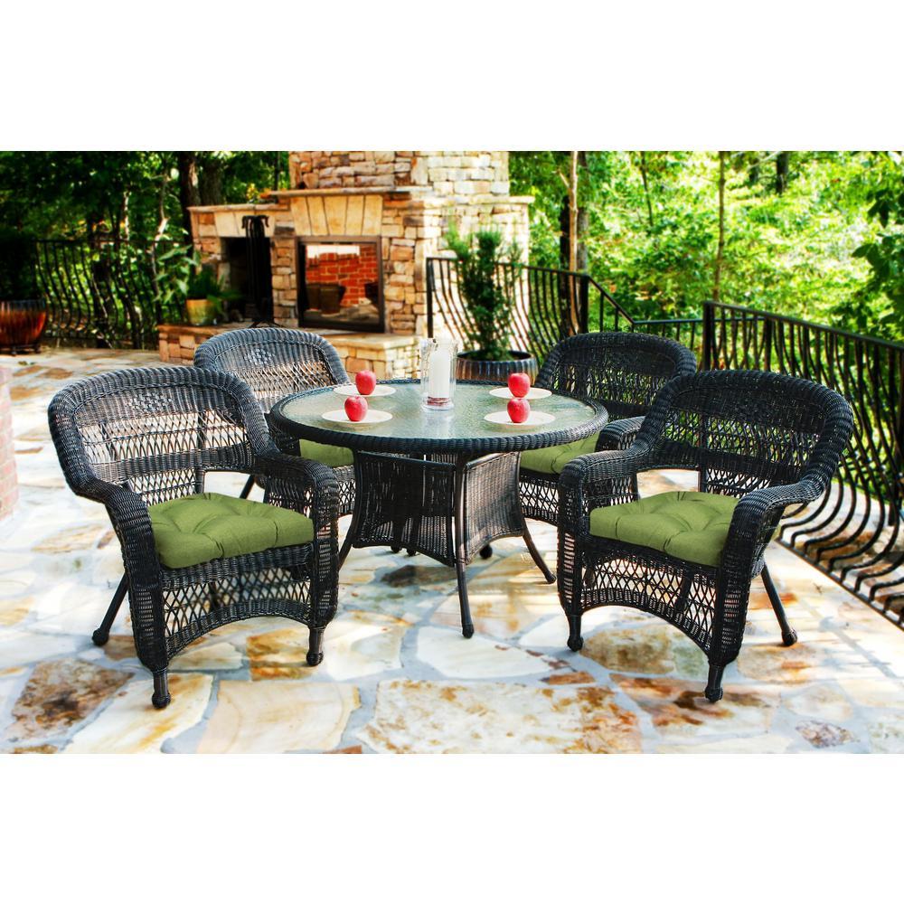 Portside Dark Roast 5-Piece Wicker Outdoor Dining Set with Husk Hunter Cushions