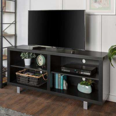 58 in. Simple Modern TV Console with Metal Legs in Black