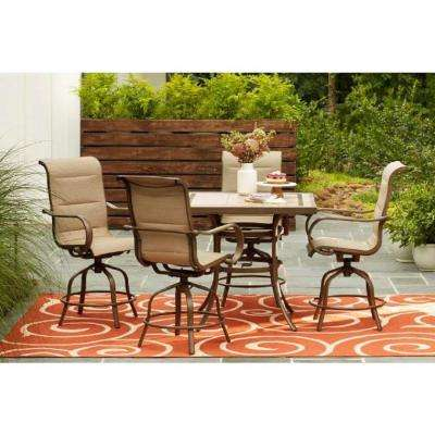Sun Valley 5-Piece Aluminum Outdoor Bar Height Dining Set in Sunbrella Sling