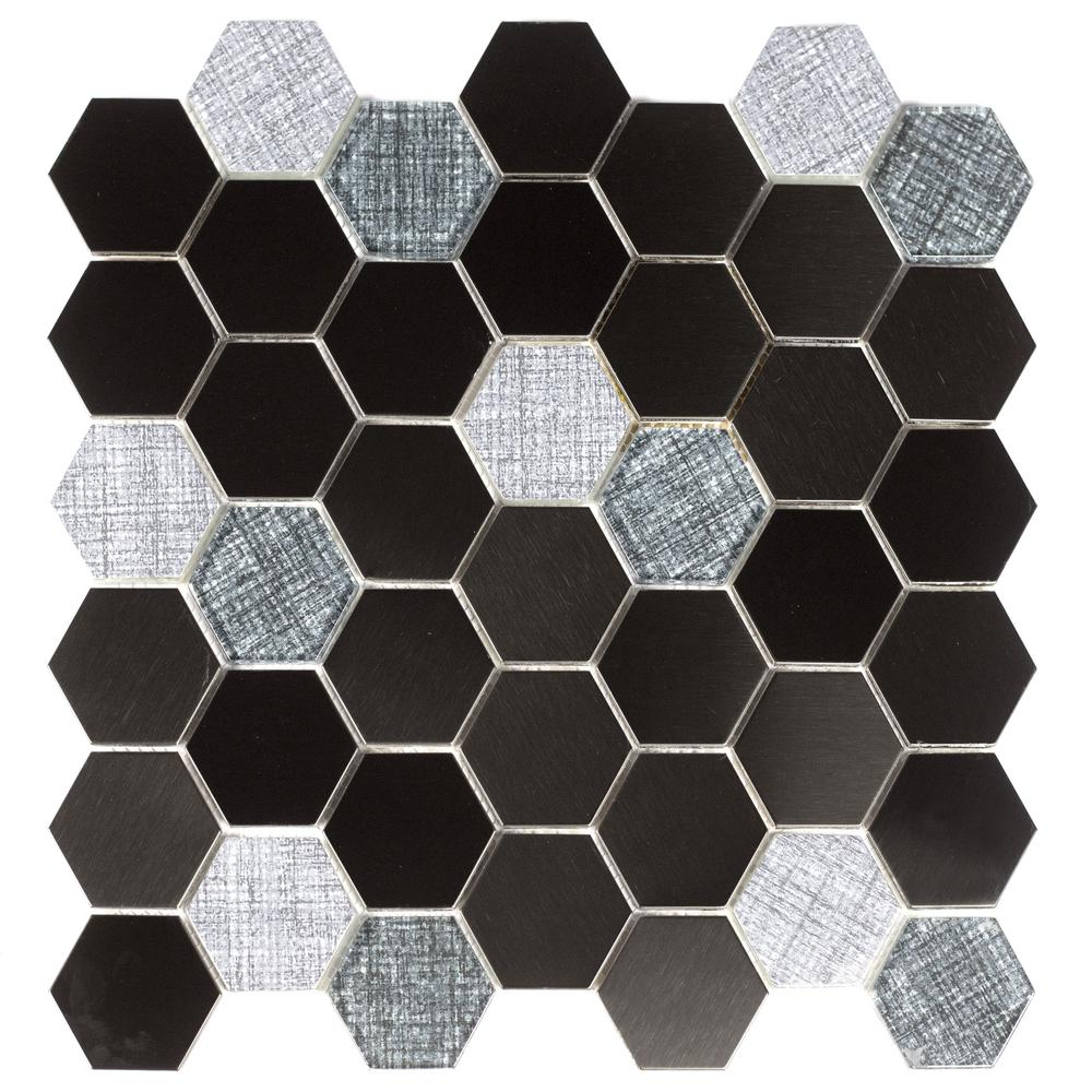 ABOLOS Enchanted Metals Navy Hexagon Mosaic 2 in. x 2 in. Glass and Metal Mesh Mounted Wall and Floor Tile (1 Sq. ft.)