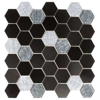 Enchanted Metals Navy Hexagon Mosaic 2 in. x 2 in. Glass and Metal Mesh Mounted Wall and Floor Tile (1 Sq. ft.)