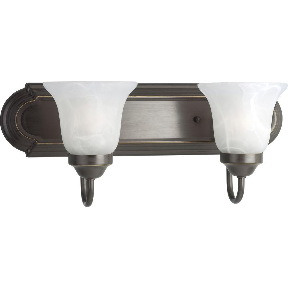 Progress Lighting 2 Light Antique Bronze Bathroom Vanity Light With Glass Shades P3052 20 The