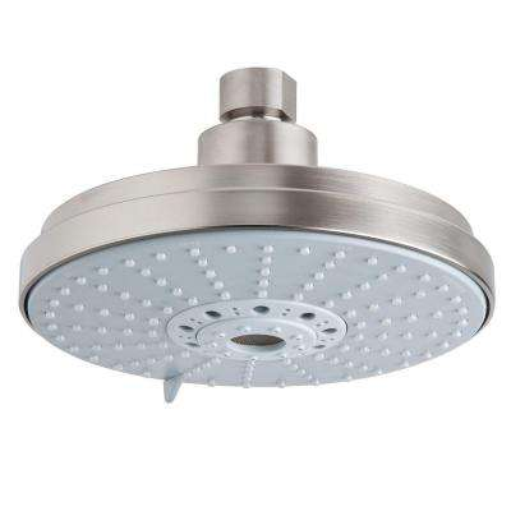 4-Spray 6.3 in. Single Ceiling Mount Fixed Rain Shower Head in Brushed Nickel