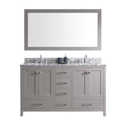 Caroline Madison 60 in. W Bath Vanity in Cashmere Gray with Granite Vanity Top in Arctic White with Sq. Basin and Mirror