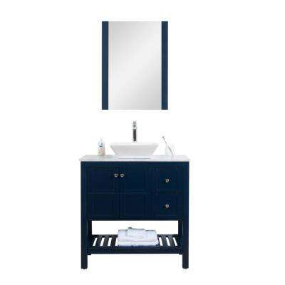 Manhattan 36 in. W x 18 in. D Vanity in Navy with Marble Vanity Top and White Basin and Mirror