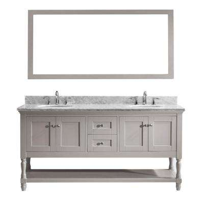 Julianna 72 in. W Bath Vanity in Gray with Marble Vanity Top in White with Round Basin and Mirror