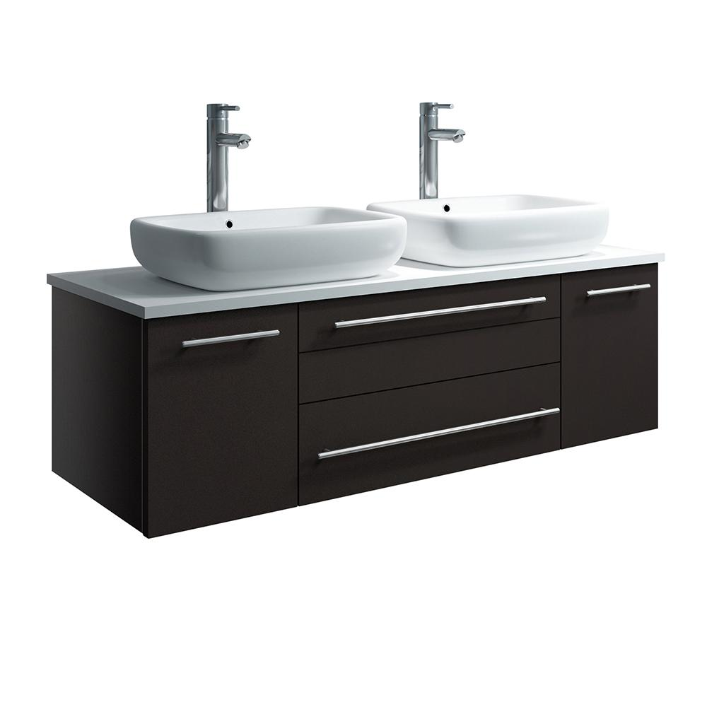 Fresca Lucera 48 in. W Wall Hung Bath Vanity in Espresso with Quartz Stone Vanity Top in White with White Basins