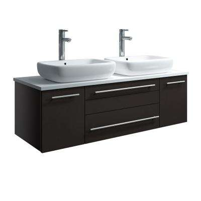 Lucera 48 in. W Wall Hung Bath Vanity in Espresso with Quartz Stone Vanity Top in White with White Basins