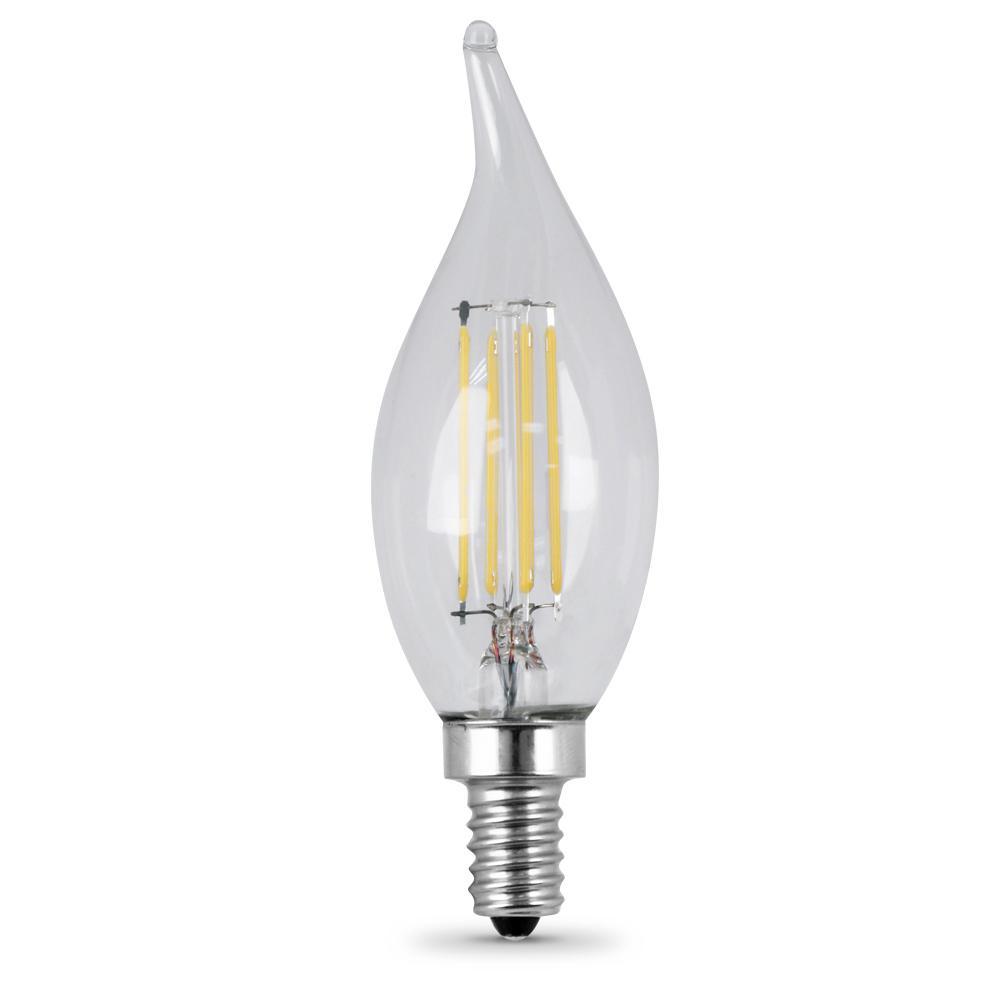 60-Watt Equivalent (2700K) CA10 Candelabra Dimmable Filament LED Clear Glass Light Bulb, Soft White (Case of 12)