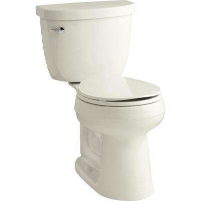 Cimarron Comfort Height 2-Piece 1.28 GPF Round Toilet in Biscuit with Cachet Q3 Toilet Seat
