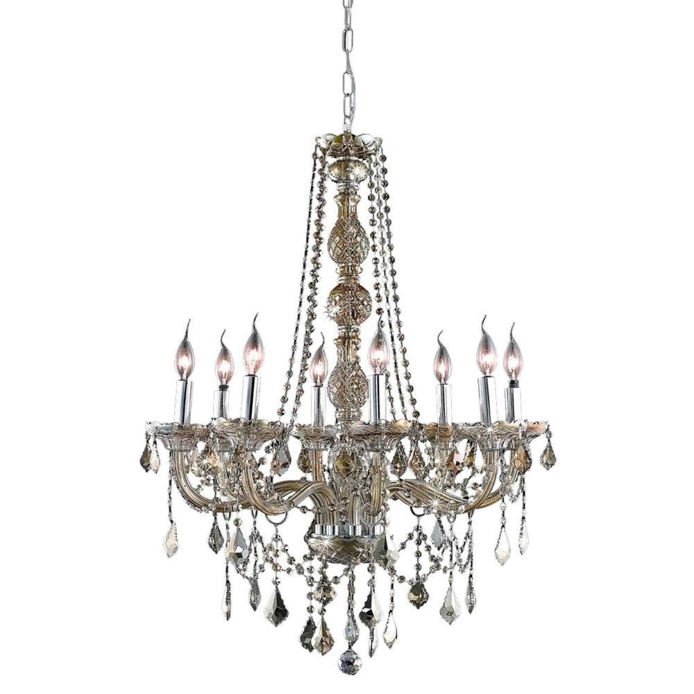Elegant Lighting 8-Light Golden Teak Chandelier with Golden Teak Smoky Crystal