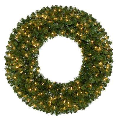 36 in. Pre-Lit Kingston Artificial Christmas Wreath with 150 Clear Lights