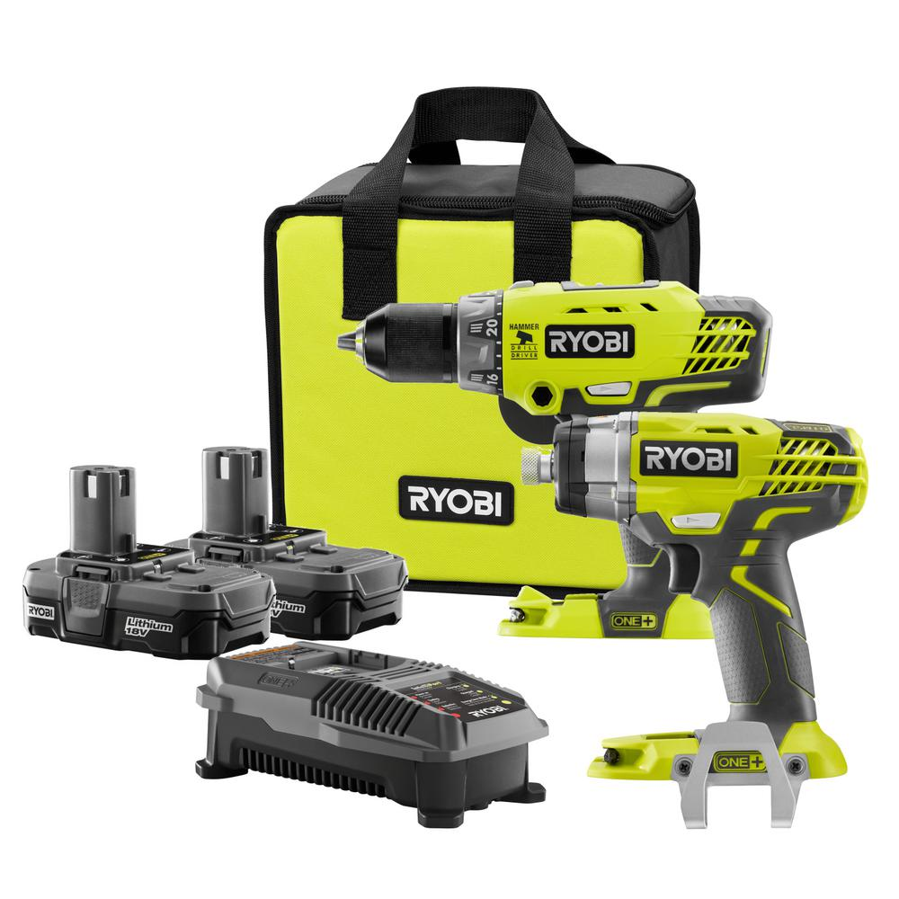 ryobi 18 volt one lithium ion cordless hammer drill and. Black Bedroom Furniture Sets. Home Design Ideas