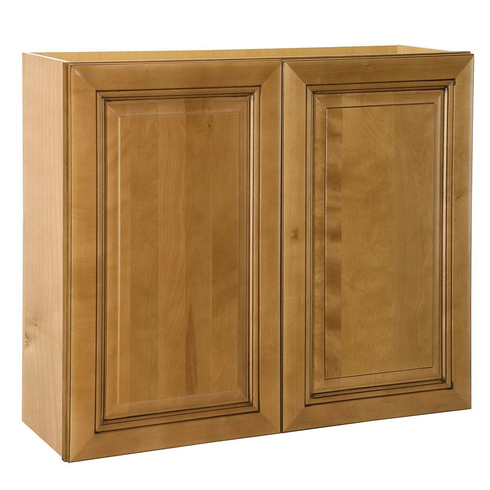 Home Decorators Collection 30x30x12 In Lewiston Assembled Wall Double Door Cabinet In Toffee