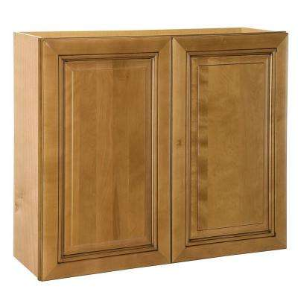 Birch kitchen cabinets kitchen the home depot lewiston assembled wall double door cabinet in toffee glaze eventshaper