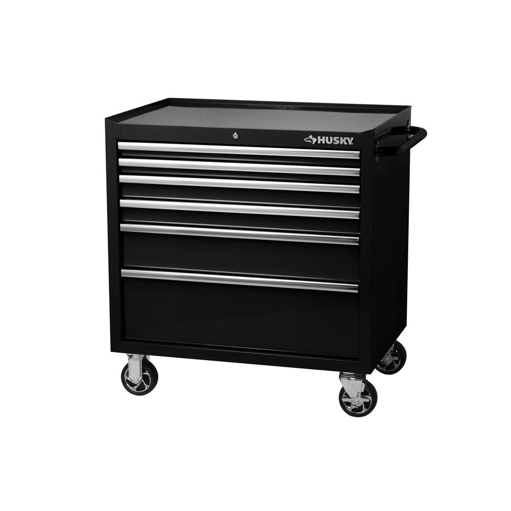 Husky Tool Cart >> Husky 36 In W X 24 5 In D 6 Drawer Tool Chest Rolling Cabinet In Black