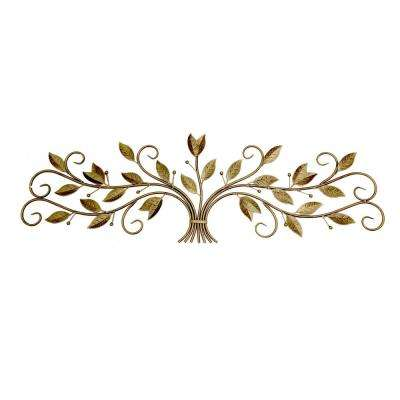 """Scroll With Leaves Wall Decor in Gold Metal - 15"""" H"""
