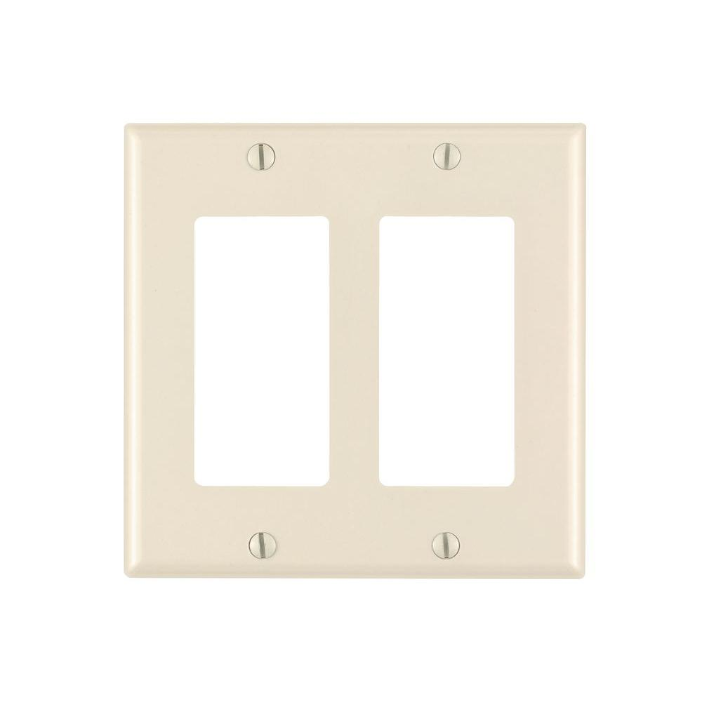 Leviton Decora 2-Gang Wall Plate, Light Almond-R56-80409