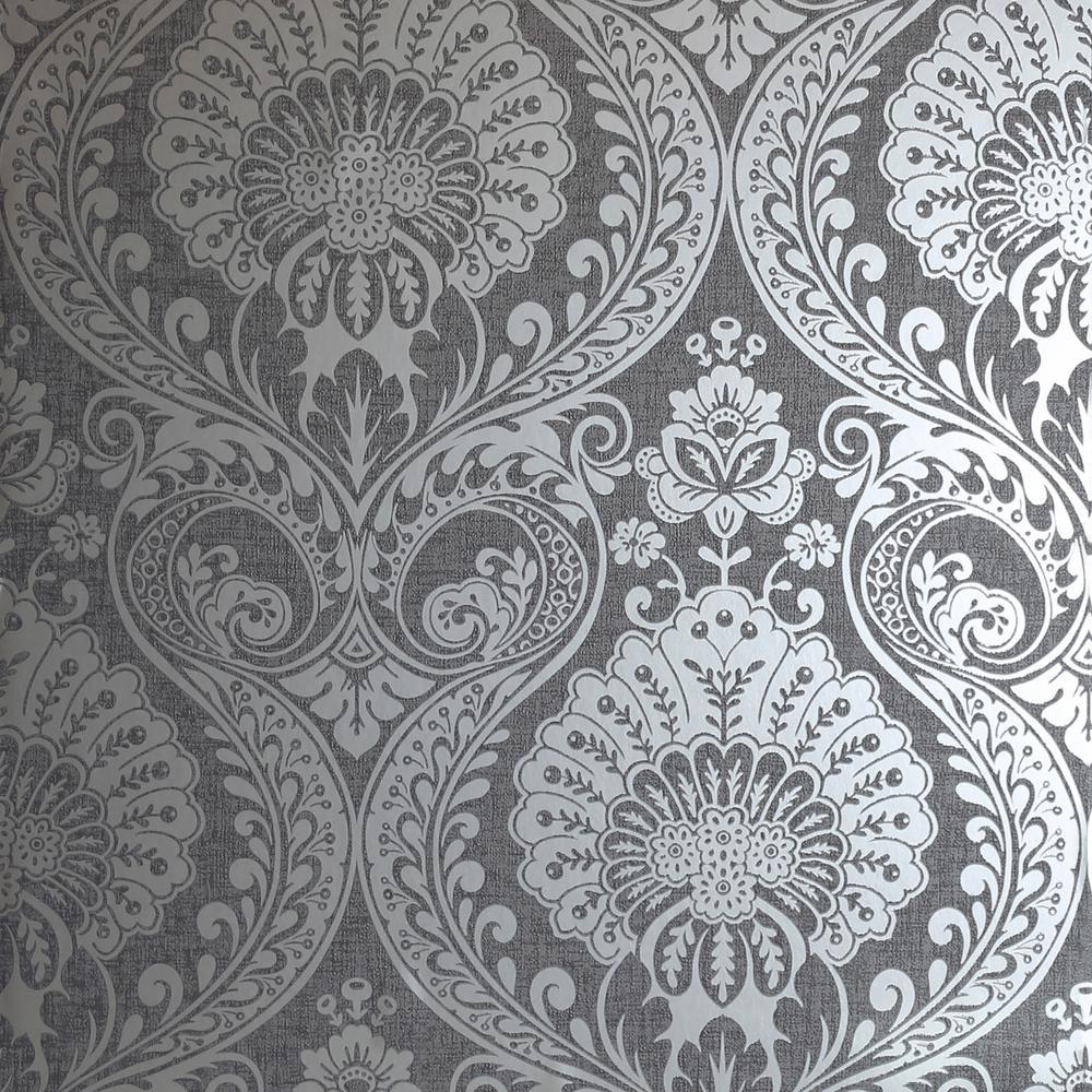 Luxe Damask Gunmetal Silver Wallpaper