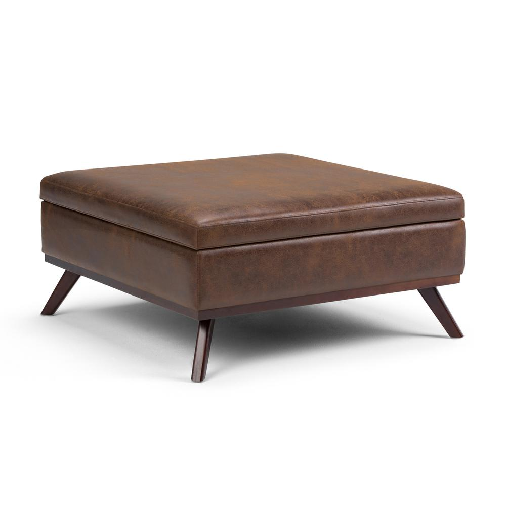 Distressed Wood Storage Ottoman ~ Simpli home owen distressed chestnut brown air leather
