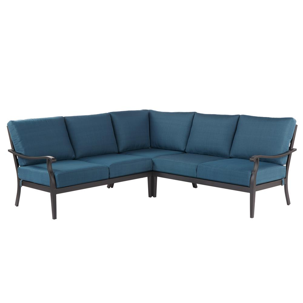 Hampton Bay Riley 3 Piece Metal Outdoor Sectional Set With Charleston  Cushions