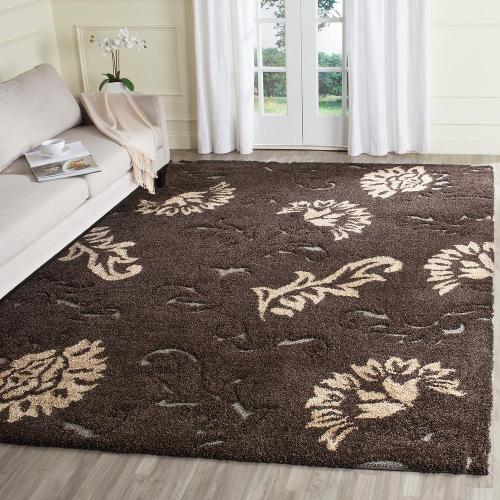 Safavieh Florida Shag Dark Brown Smoke 8 Ft X 10 Ft Area