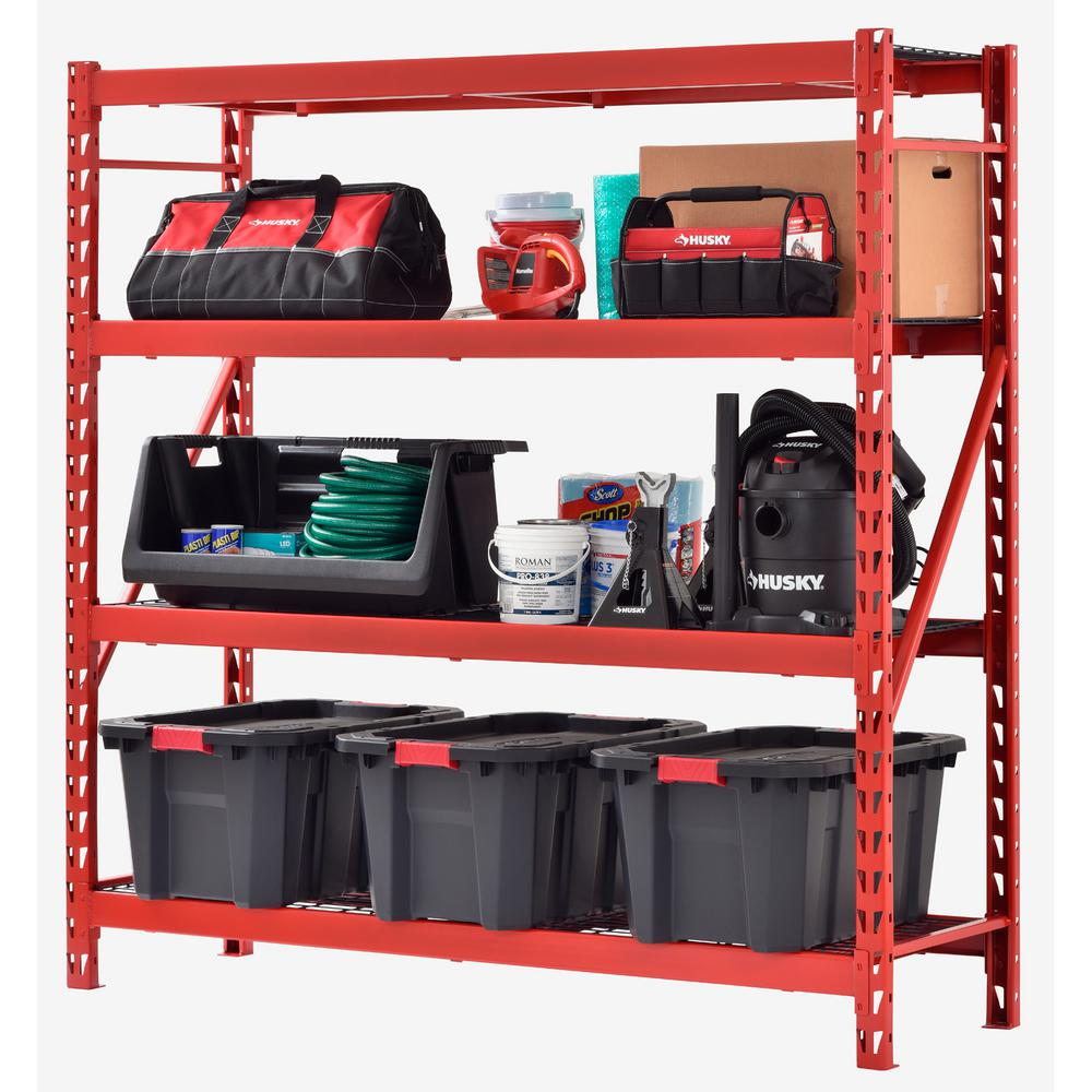 Husky 77 in. W x 78 in. H x 24 in. D 4-Shelf Welded Steel Garage Storage Shelving Unit with Wire Deck in Red