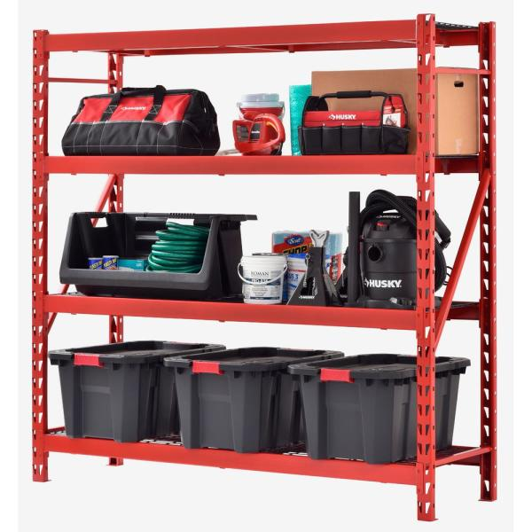 Red 4-Tier Heavy Duty Steel Garage Storage Shelving (77 in. W x 78 in. H x 24 in. D)