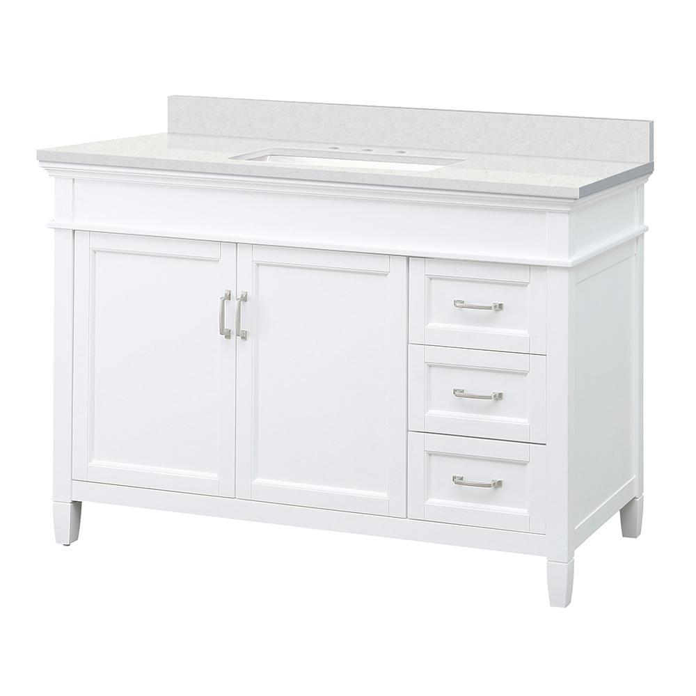 Foremost Ashburn 49 in. W x 22 in. D Vanity Cabinet in White with Engineered Marble Vanity Top in Snowstorm with White Basin