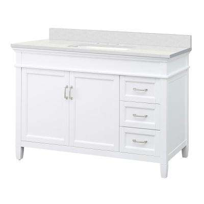Ashburn 49 in. W x 22 in. D Vanity Cabinet in White with Engineered Marble Vanity Top in Snowstorm with White Basin