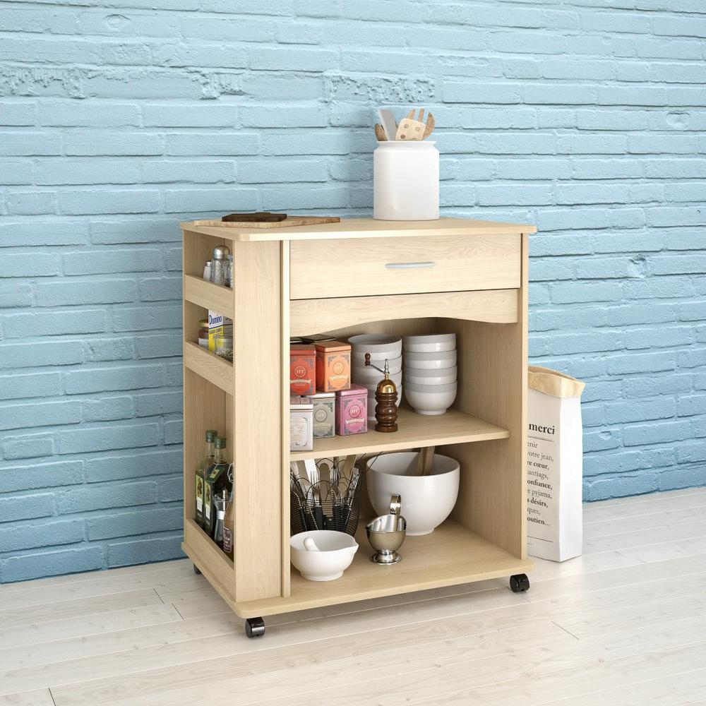 Null Natural Maple Kitchen Cart With Drawer