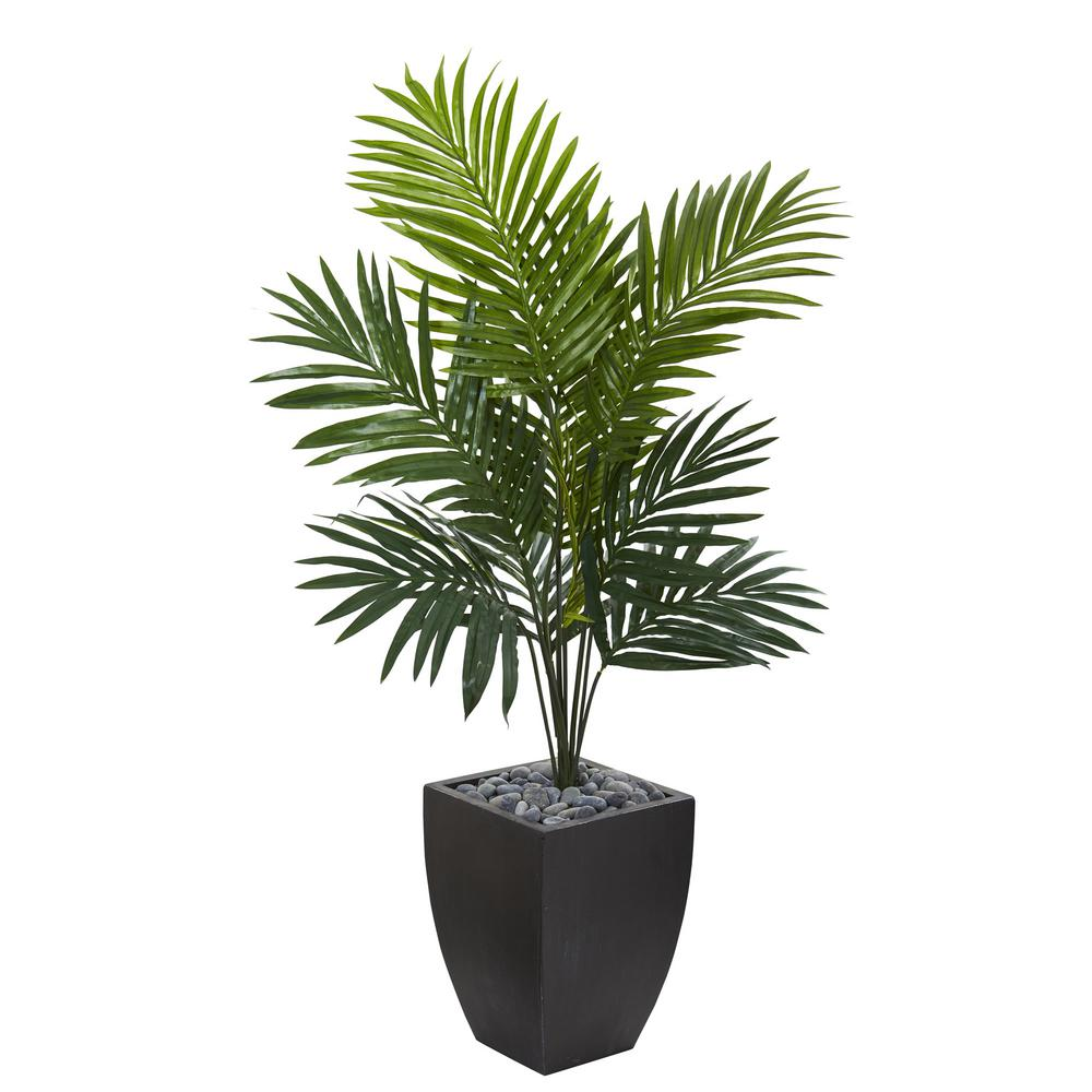 Kentia Palm Artificial Tree In Black Wash Planter 5821 The Home Depot