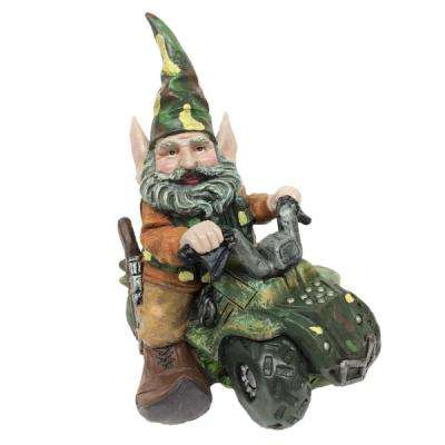 12 in. H in. Hunter The Gnome Garden Gnome Hunter Riding His Customized ATV in Camouflage Figurine Statue