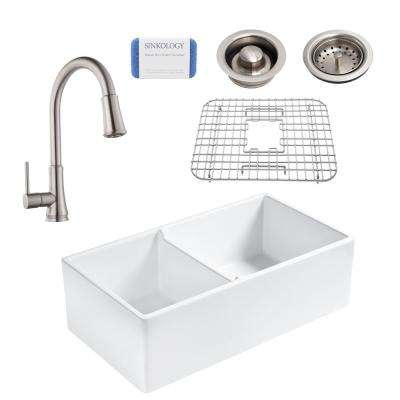 Brooks All-in-One Farmhouse Apron Fireclay 33 in. 60/40 Double Bowl Kitchen Sink with Stainless Faucet and Drains