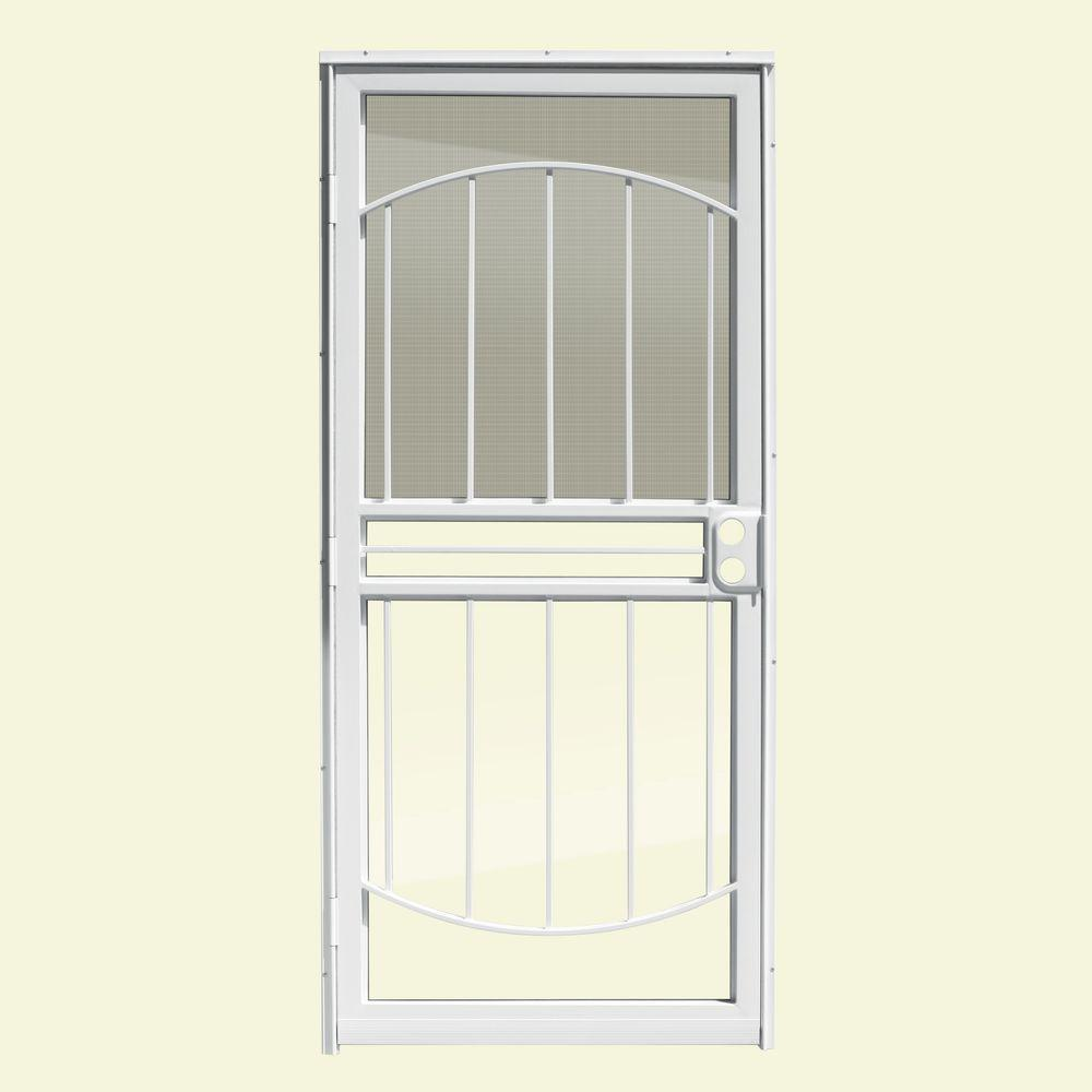Beautiful Unique Home Designs 36 In. X 80 In. Arbor White Recessed Mount All Season Security  Door With Insect Screen And Glass Inserts IDR0300036WHT   The Home Depot