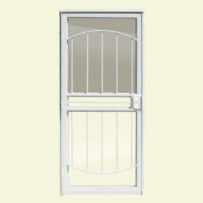 36 in. x 80 in. Arbor White Recessed Mount All Season Security Door with Insect Screen and Glass inserts