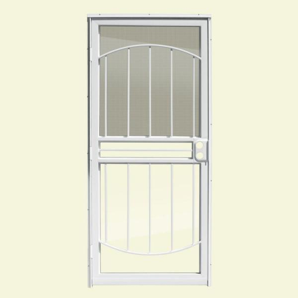 32 in. x 80 in. Arbor White Recessed Mount All Season Security Door with Insect Screen and Glass Inserts