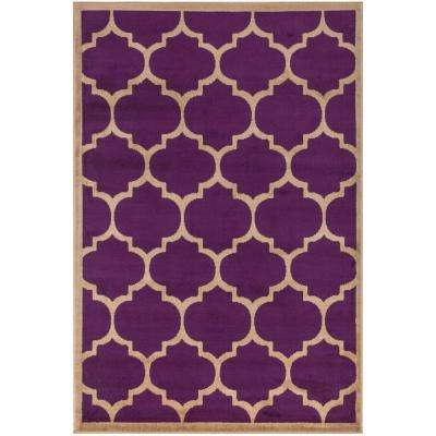 Contemporary Moroccan Trellis Purple 7 ft. 10 in. x 9 ft. 10 in. Area Rug