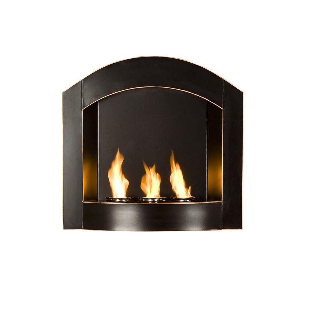 Southern Enterprises Arch 27 in. Wall-Mount Gel Fuel Fireplace in Matte Black with Copper Distressing