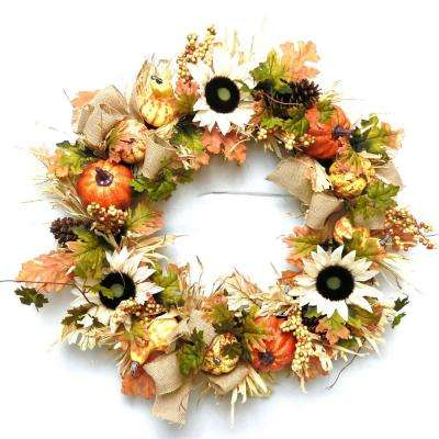30 in. Artificial Fall Sunflower Pumpkin Wreath with Pinecones