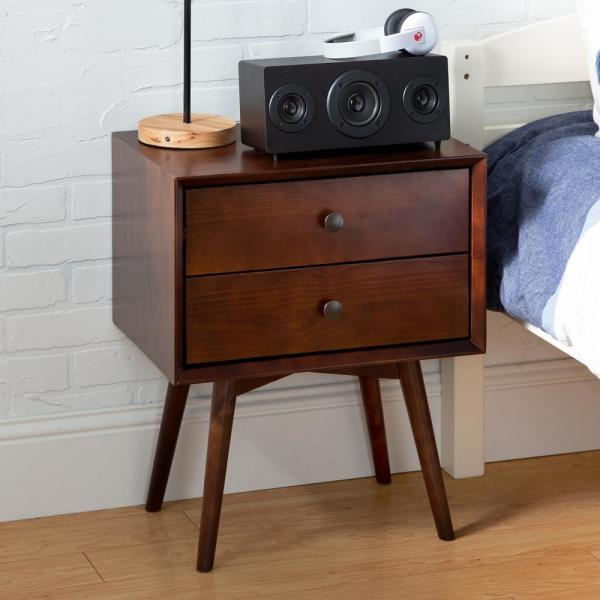 Mid Century Modern Contemporary Transitional 2-Drawer Solid Wood Walnut Night Stand
