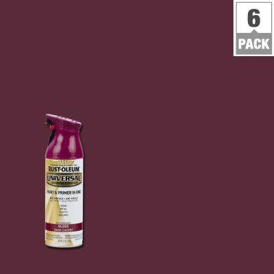 12 oz. All Surface Gloss Dark Cherry Spray Paint and Primer in One (6-Pack)